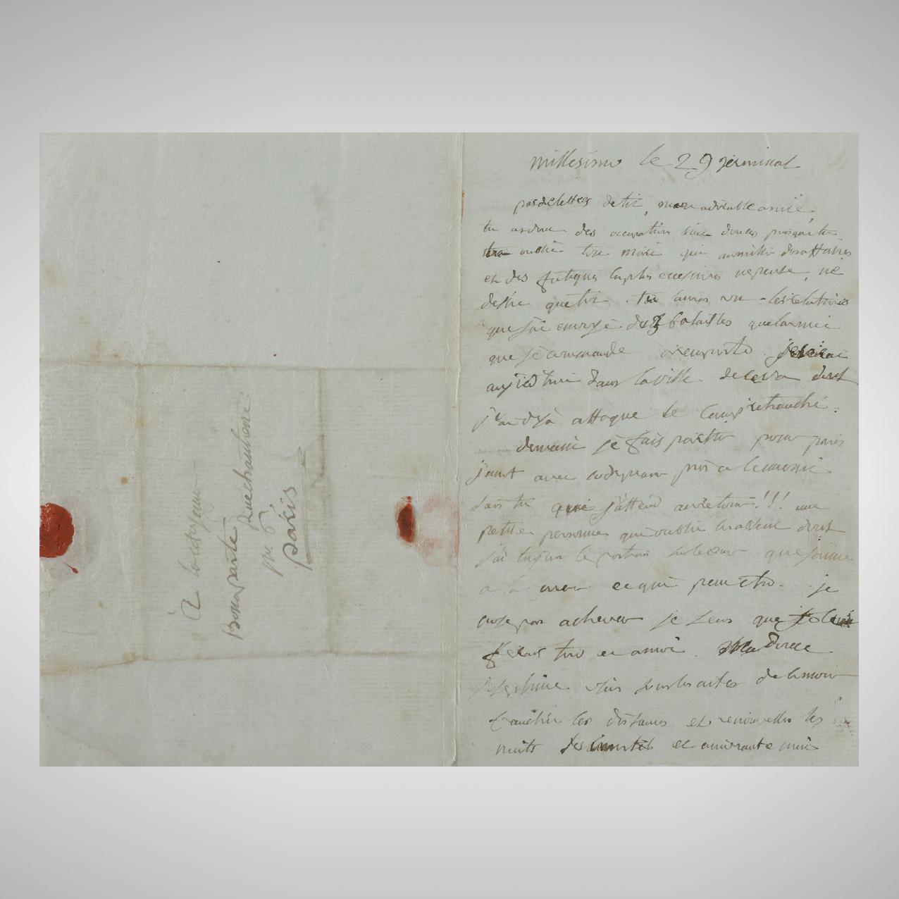 221000€ Napoléon Bonaparte(1769-1821) à Joséphine, lettre d'amour rédigée à Millesimo durant la campagne d'Italie, le 18avril 1796. Drouot, 4avri