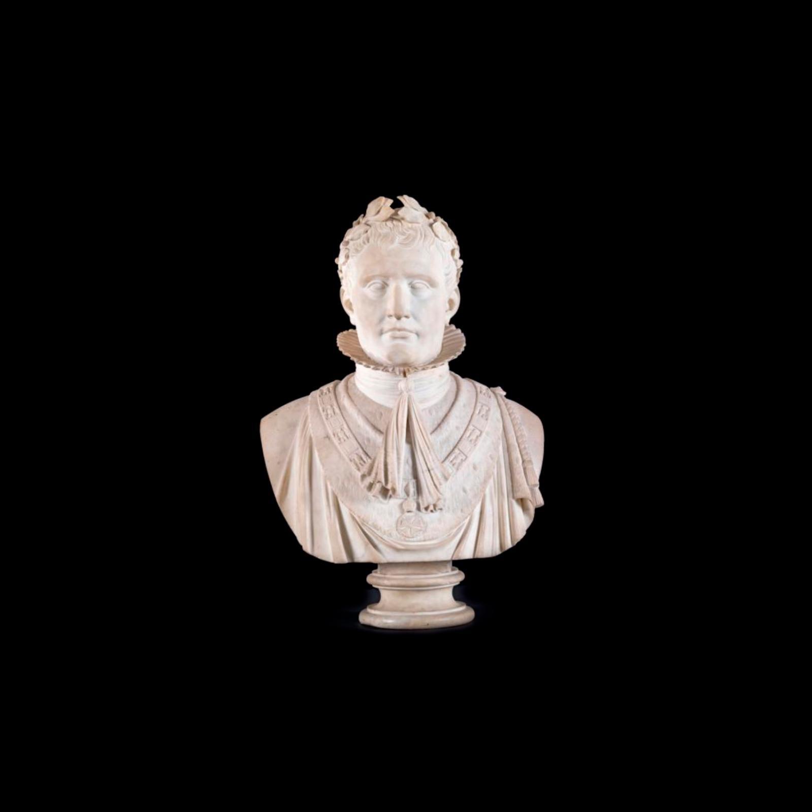 135000€ Buste de NapoléonIer en grand costume de sacre et coiffé de la couronne de lauriers (provenant des collections de Joseph Bonaparte), marbre