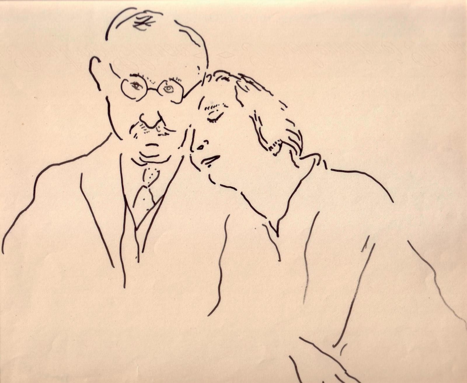 Autoportrait avec madame Marquet, Bougie, 1925, encre, 21,5x25,5cm. Paris, Drouot, 17octobre 2010. Deburaux AponemOVV. M.Landrot. 10534€