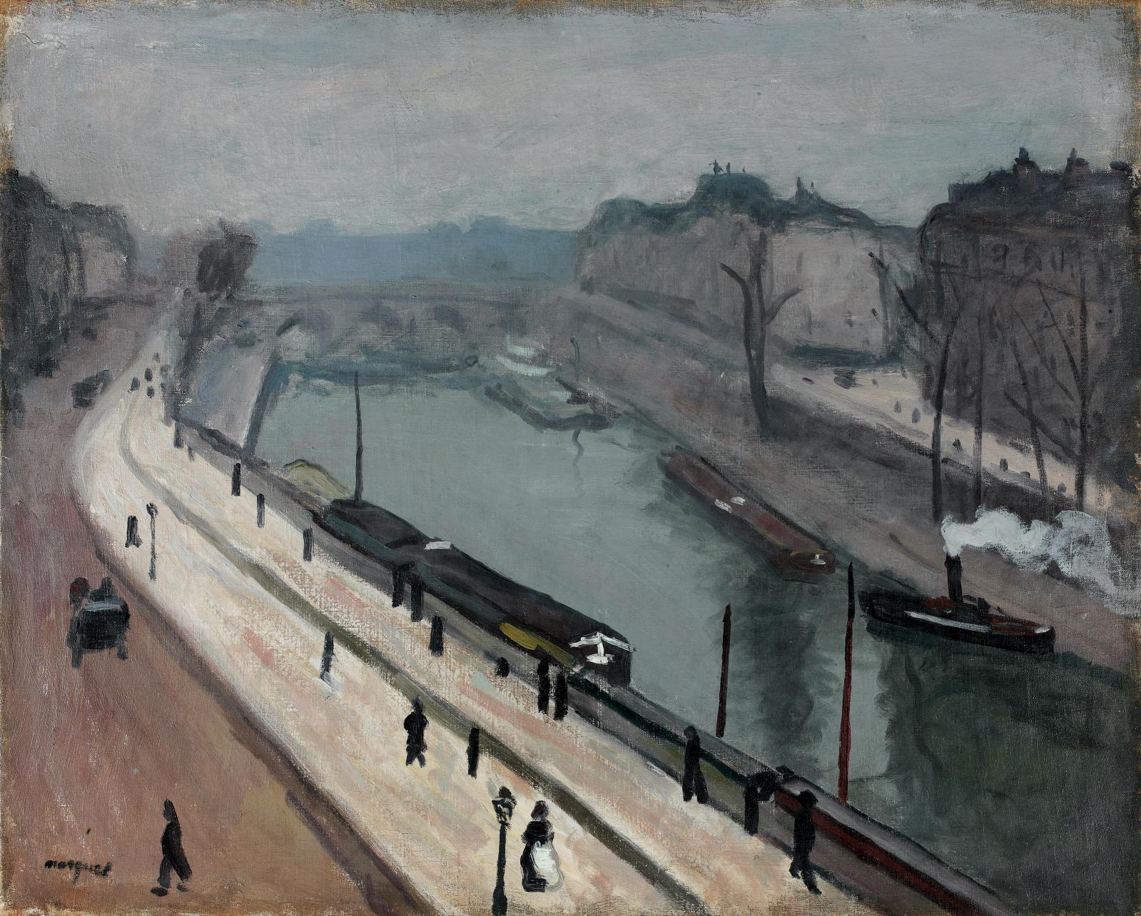 Paris, quai des Grands-Augustins, huile sur toile, 64,5x80,5cm (détail). Paris, Drouot-Richelieu, 19mars 2010, PiasaOVV. Succession Daniel Carass