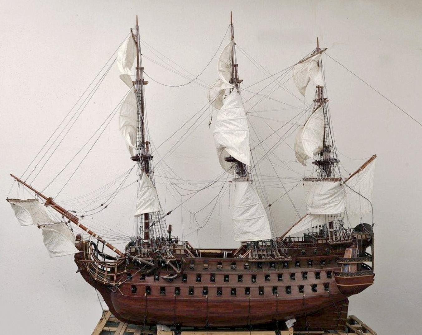 Maquette du premier Royal Louis en bois, XVIIesiècle (?), 400x350cm.Paris, Drouot-Richelieu, le 20 juin 2011. Lasseron & Associés OVV. Adjugé: 14