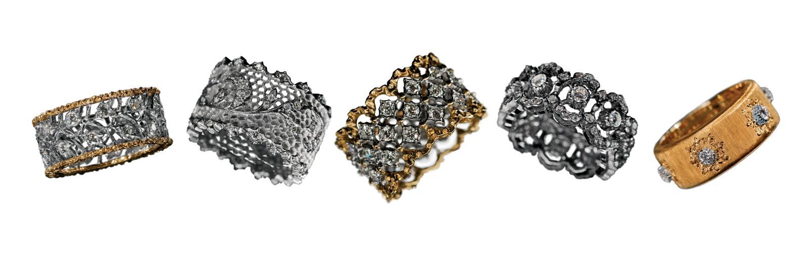 Les fameuses verette, ces bagues- anneaux finement dentées, ainsi baptisées par Mario Buccellati pour ce qu'elles évoquent d'éternité.