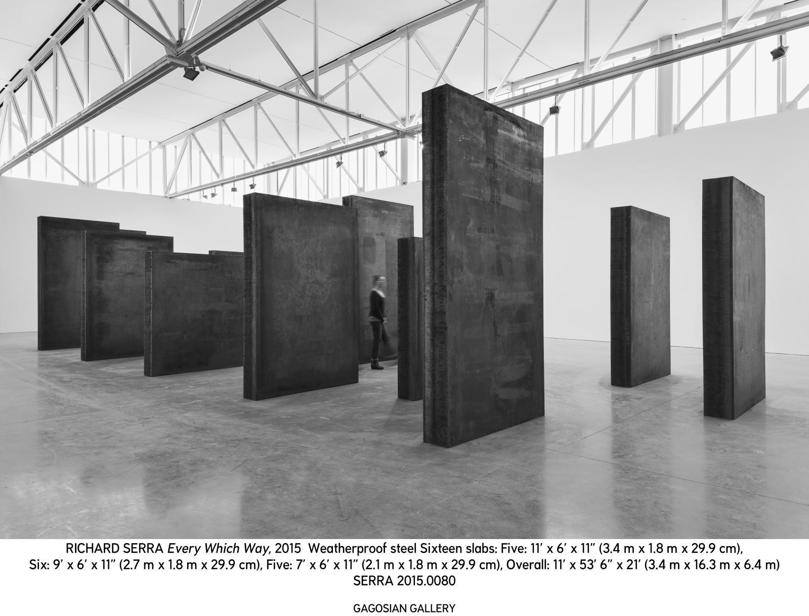 Richard Serra (né en 1939), Every Which Way,2015, acier, galerie Gagosian au 555 West 24th Street, ensemble: 3,40x16,3x6,4m.