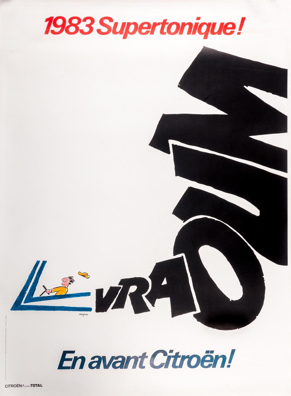 Raymond Savignac (1907-2002), En avant Citroën! Vraoum, 1983, Ets Saint-Martin (offset), 176x120cm. Paris, Drouot, 6 mars 2017. Yann LeMouëlOVV.