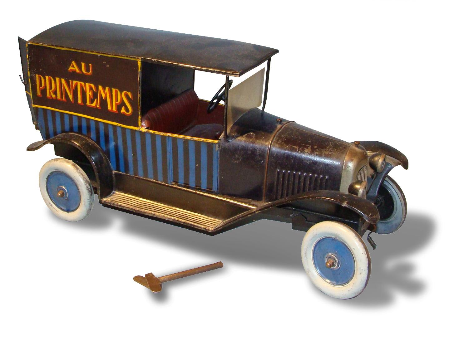 Jouet Citroën 1/10. Fourgonnette de livraison B2, portes arrière ouvrantes, mécanique, bleu et noir, roues métal avec jantes bleues. Portant l'inscrip