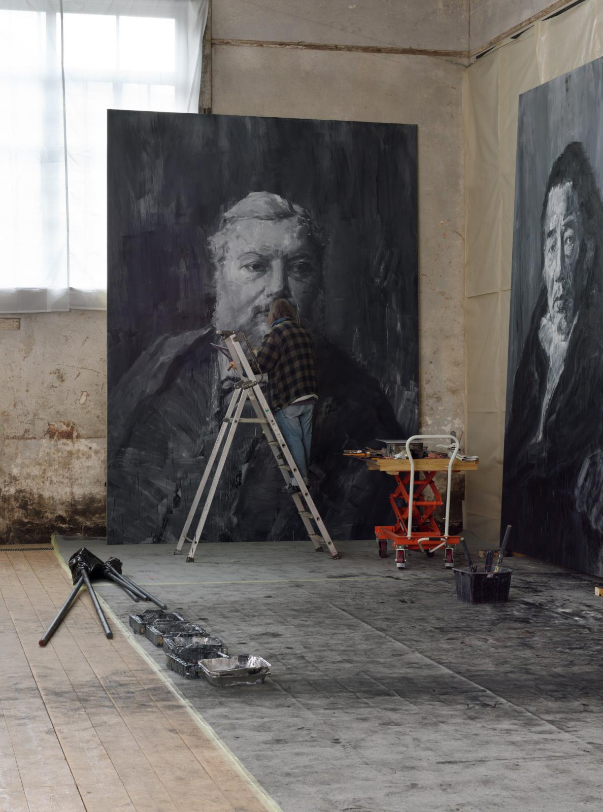 Yan Pei-Ming in Courbet's studio, Ornans, 2019.