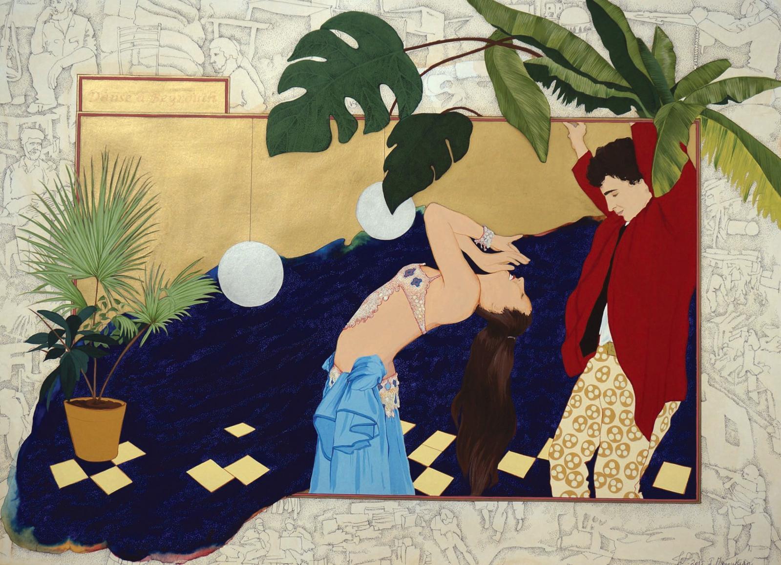 Isabelle Manoukian (née en 1969), Danse à Beyrouth, 2015, gouache et encre sur papier, 55x75cm.