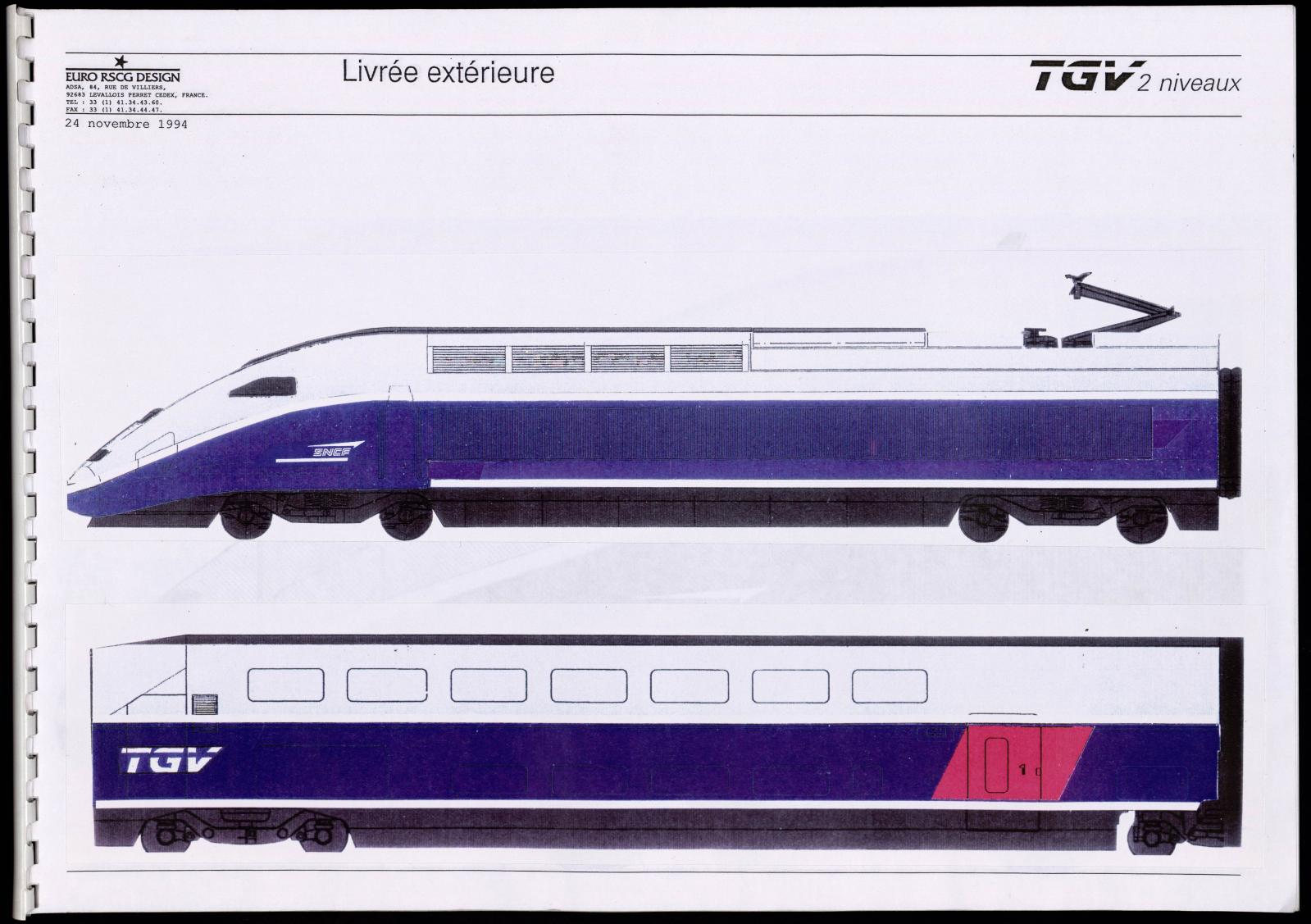 Livrée extérieure du TGV Duplex, 1994.