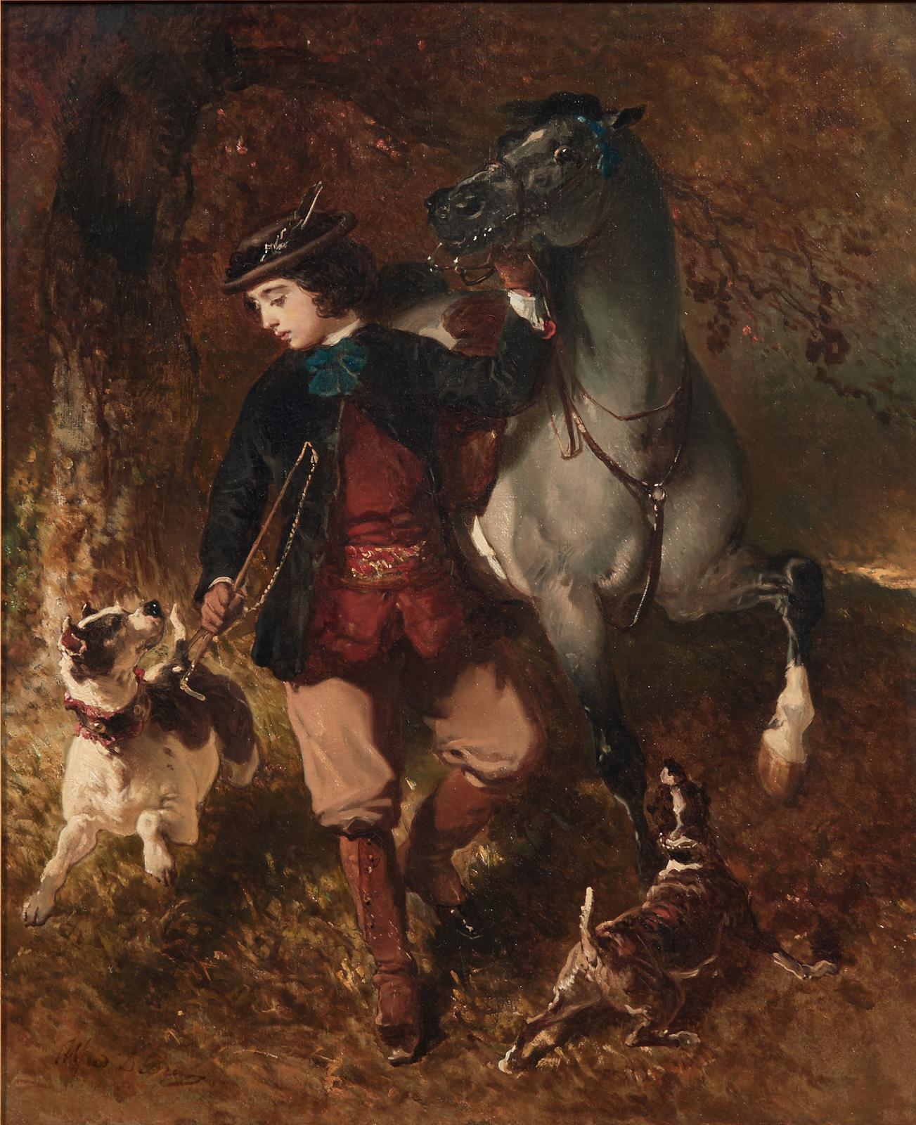 Alfred de Dreux (1810-1860), Jeune cavalier tenant son cheval par la bride et ses chiens, huile sur toile, 56x46cm. Estimation: 60000/80000€