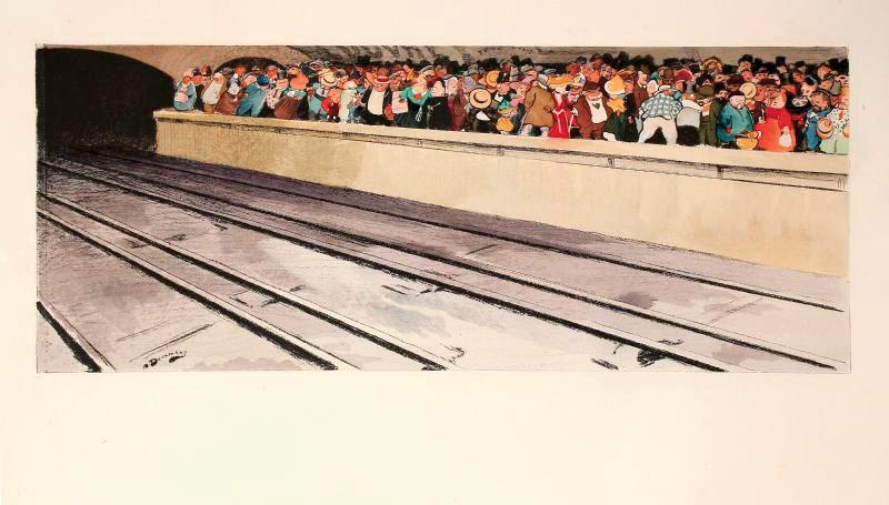 André Devambez (1867-1944), Quai de métro, heure de pointe, vers 1910, lithographie, 45,6x18,3cm. Paris, Drouot-Richelieu, 8novembre 2011. AderOV