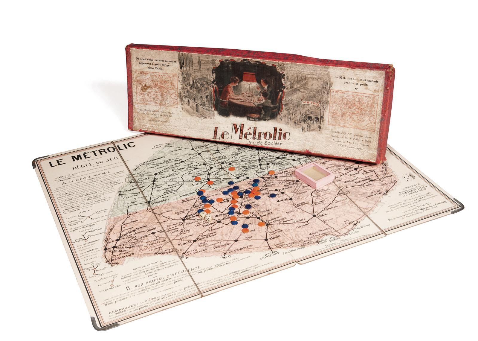 Le Métrolic, jeu de société, Paris, E.Dubuc, vers1920-1925. Paris, Drouot-Richelieu, 5avril2011.Pierre Bergé &AssociésOVV. M.Forgeot. Adjugé: