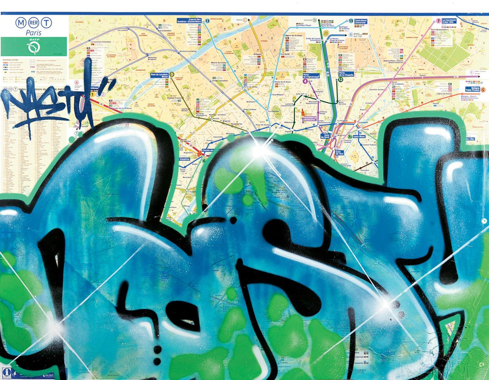 Nasty (né en 1974), Sans titre, 2007, peinture aérosol sur plan de métro parisien marouflé sur carton, 99x126cm. Paris, Drouot-Richelieu, 11juin