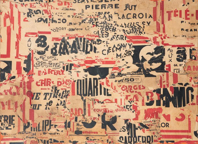 Jacques Villeglé (né en 1926), Métro Chaussée d'Antin, 1980, affiches lacérées marouflées sur toile, 54x73cm. Paris, Drouot-Richelieu, 12juin 2013