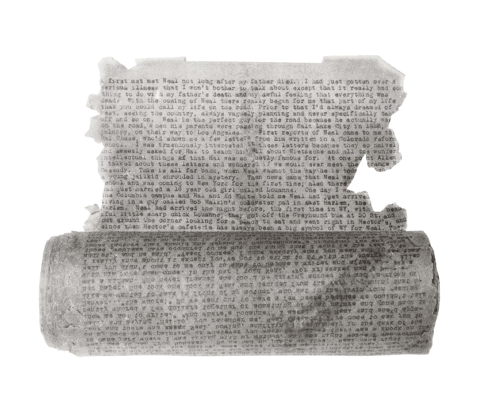 Jack Kerouac (1922-1969), On the Road, 1951, tapuscrit original sur papier calque, 360x22cm. Collection James S.Irsay.