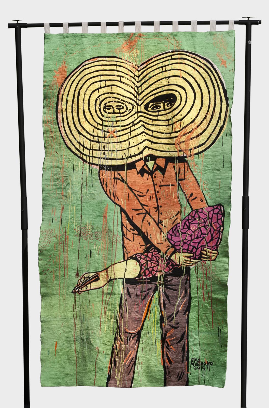 Eko Nugroho (né en 1977), Freedom is not Free, 2015, broderie à la main, 272x151,5cm (détail). Plate-forme «Chimères», Asia Now. Courtesy Eko Nugr