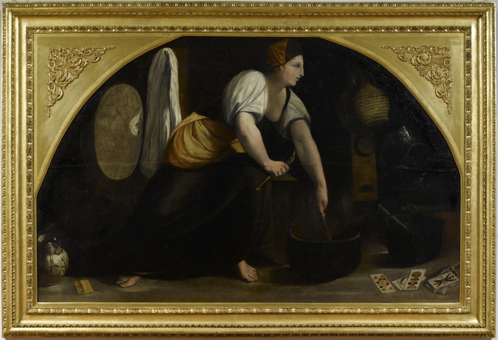 Giovanni Luteri dit «IlDosso» ou «Dossi», Magicienne, huile sur toile, 136x214cm, identifié par l'historienne Kristina Hermann Fiore et restauré s