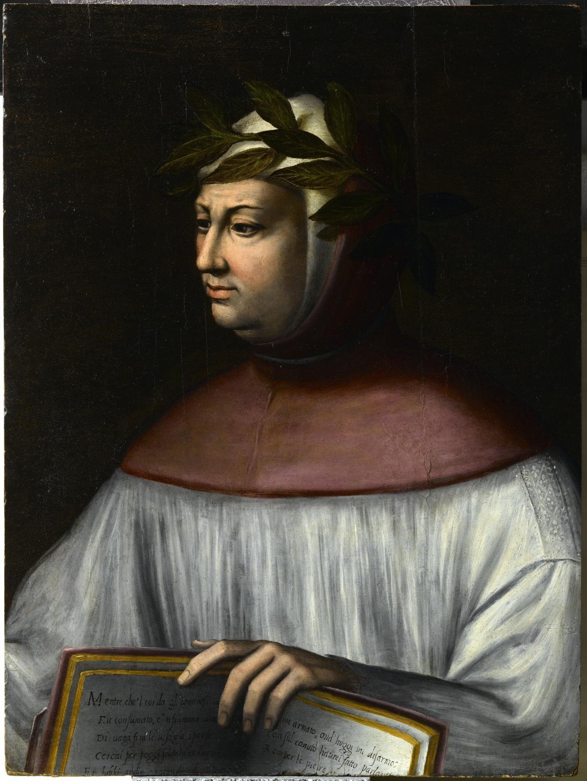 Giorgio Vasari, Le Portrait de Pétrarque, huile sur bois, 71x54cm, attribution de Philippe Costamagna, restauré en 2010.