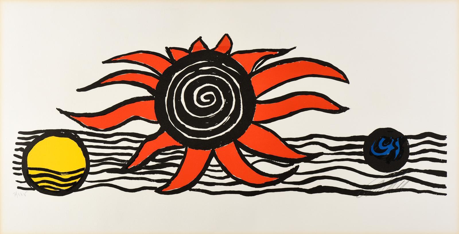 Alexander Calder (1898-1976), Le Soleil, la Terre et la Lune, 1974-1975, lithographie, n°7/175, 45x86cm. Lyon, Hôtel des ventes, 5avril2018. De
