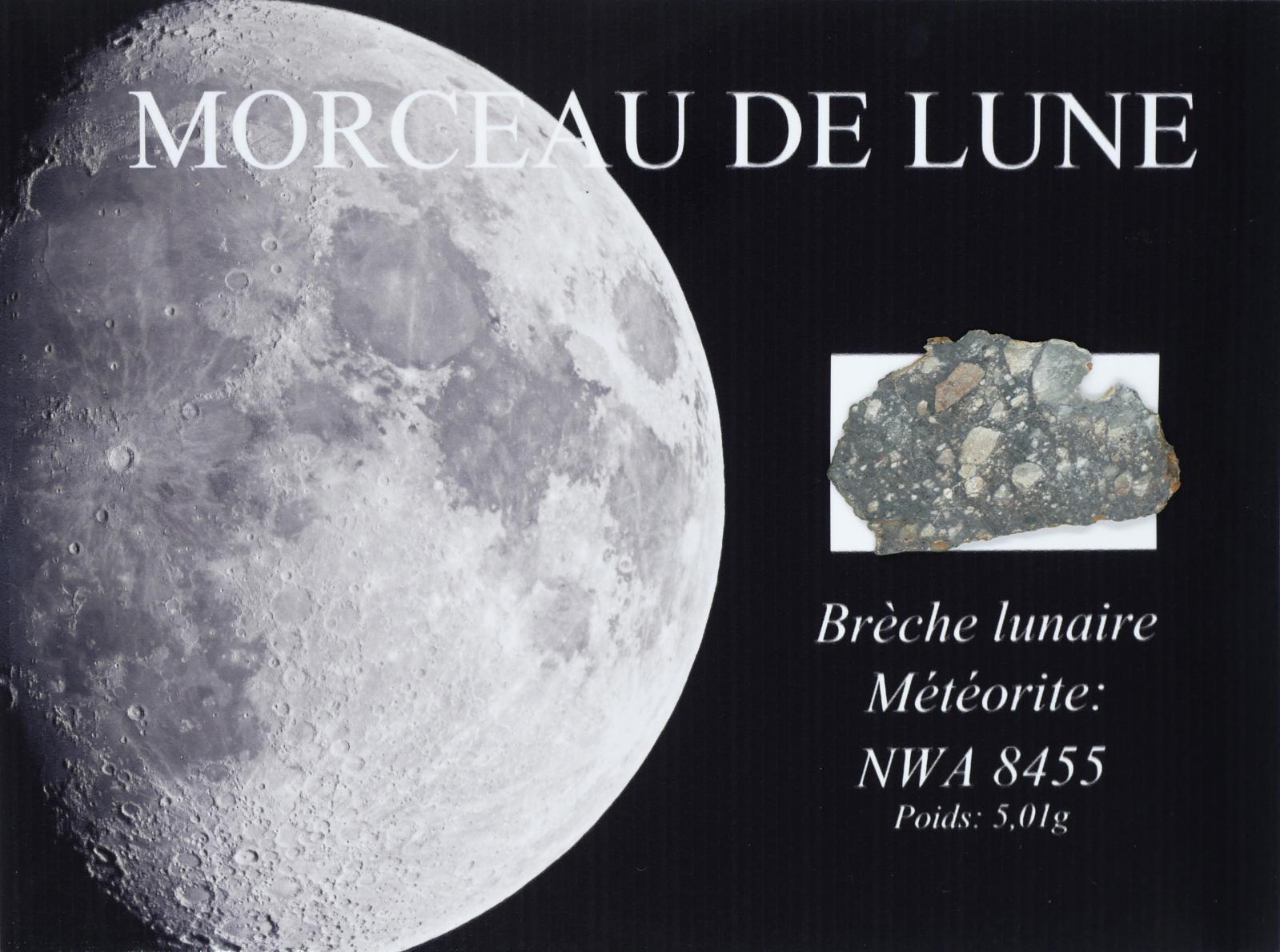 Météorite lunaire NWA8455, brèche régolithique avec inclusions blanches et roses de feldspath, poids: 4,32kg. Paris, Drouot-Richelieu, 16novembre