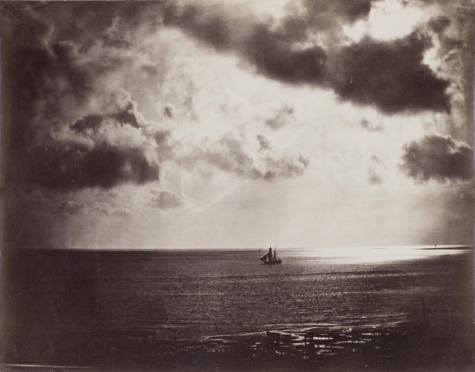 Gustave Le Gray (1820-1884), Brick-Normandie dit «Brick au clair de lune», 1856, épreuve d'époque sur papier albuminé d'après deux négatifs verre au c