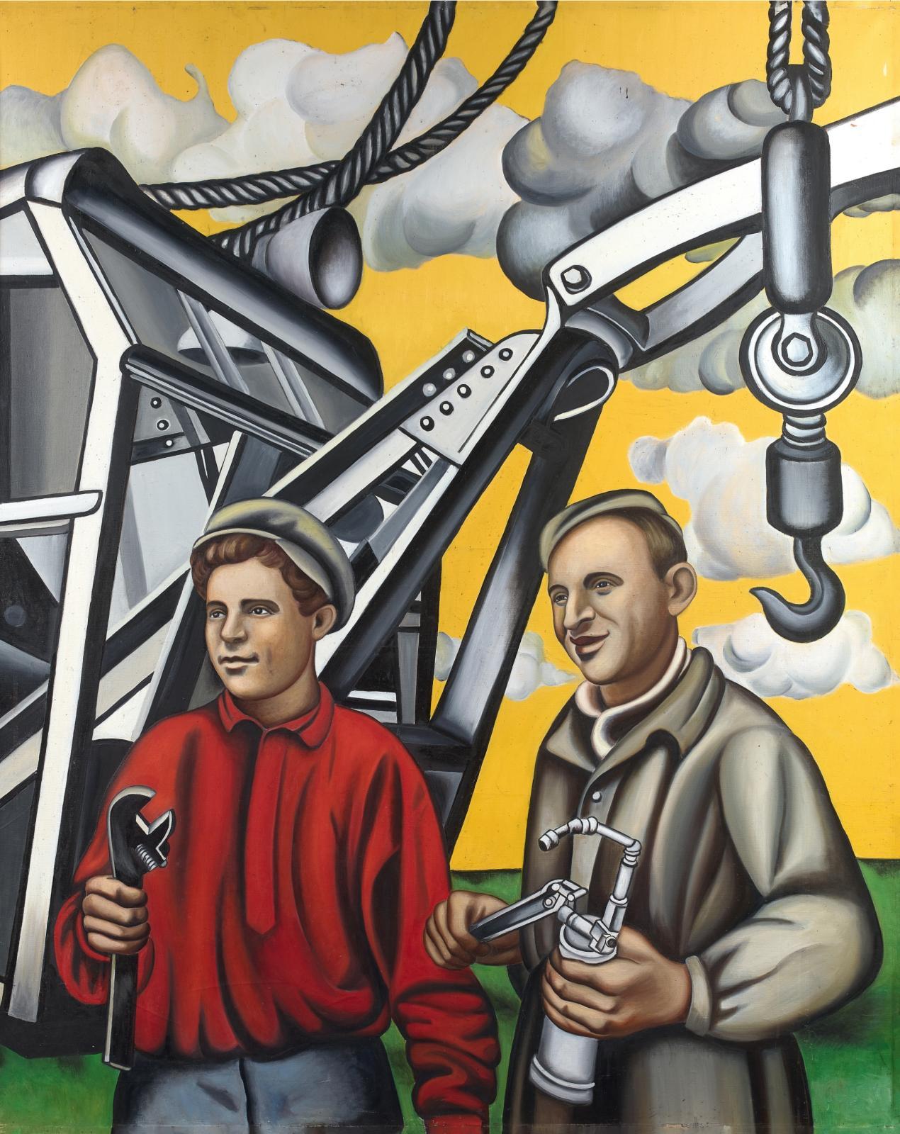 Les Constructeurs, huile sur toile, 1953.