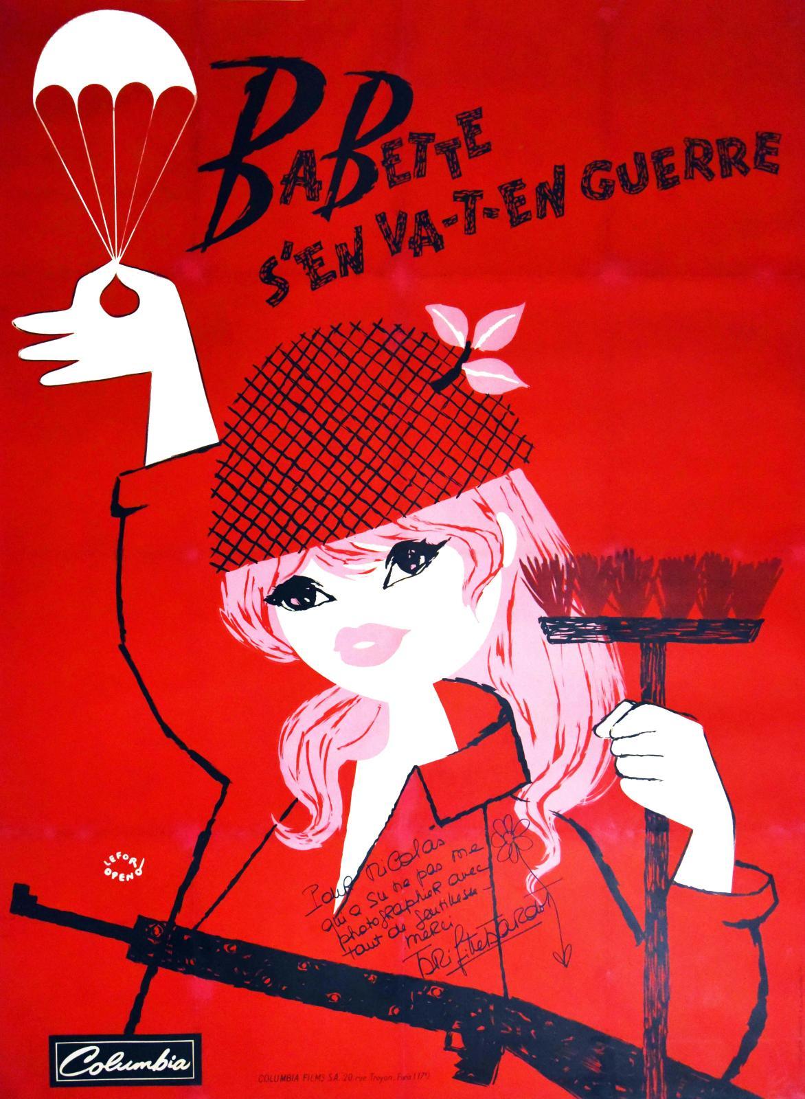 Lefor Openo, Babette s'en va-t-en guerre, 1959, affiche originale signée par Brigitte Bardot avec un dessin, 156x116cm. Adjugé: 5200€