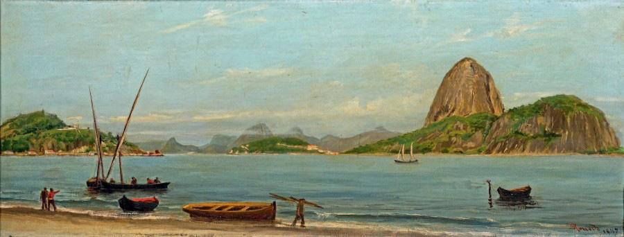 17274€Émile Rouede (1848-1908), Vue de la baie de Rio de Janeiro et du mont du Pain de Sucre, toile, signée et datée 1887, 30x80,5cm. Drouot, 2a