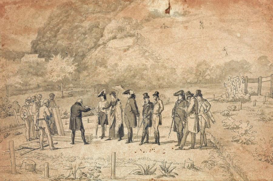 5208€Pierre-Louis Meunier (1780-?), Pose de la première pierre du palais Cadaval, au Brésil, 1821, plume et encre noire sur trait de crayon noir, la