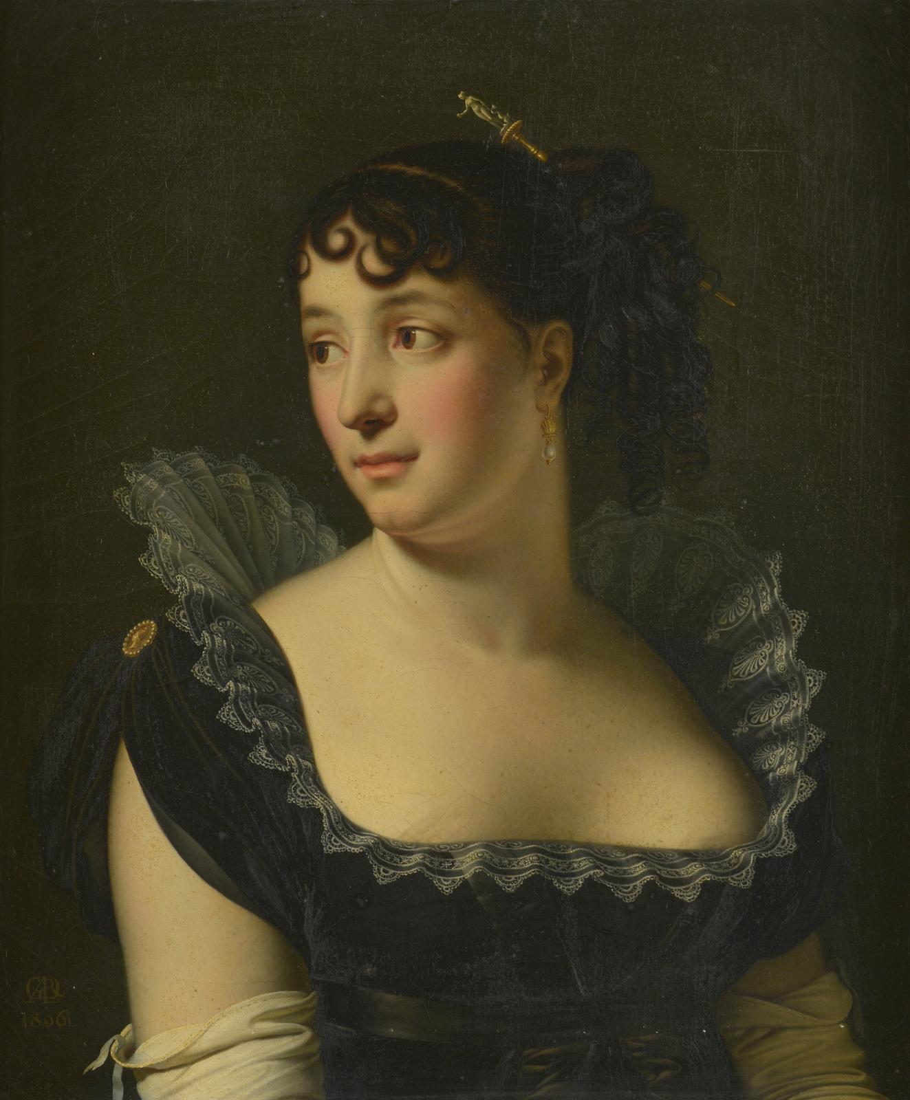 Anne-Louis Girodet-Trioson (1767-1824), Portrait de Madame Bertin de Veaux en buste, 1806, huile sur toile, 65,5x55cm. Estimation: 80000/100000