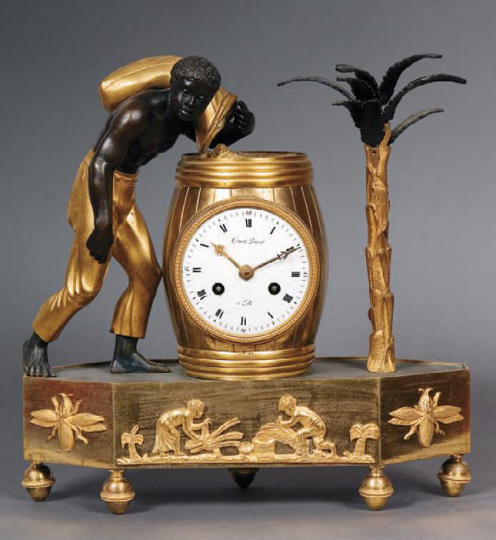 16 800 € frais compris.Pendule au nègre déversant un sac de café, bronze ciselé doré et patiné, cadran signé Gamont Pruvot à Lille,premier quart du XI