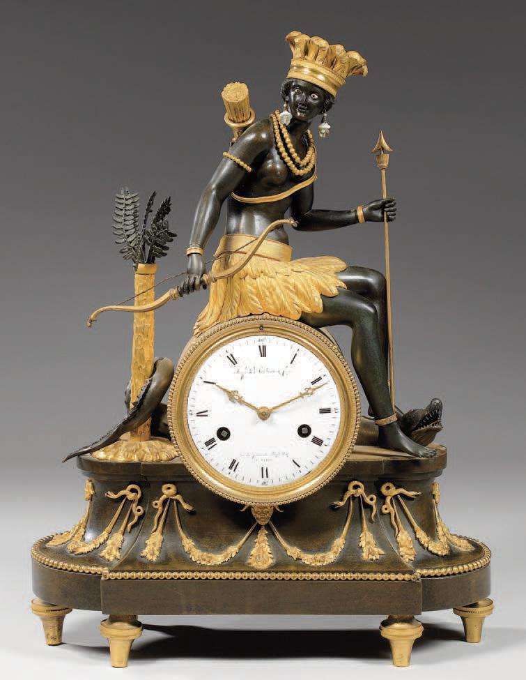 24 784 € frais compris. Pendule symbolisant l'Amérique, bronze ciselé, doré, cadran signé Deverberie, vers 1800, 48 x 35 cm. Paris-Drouot, 26 novembre