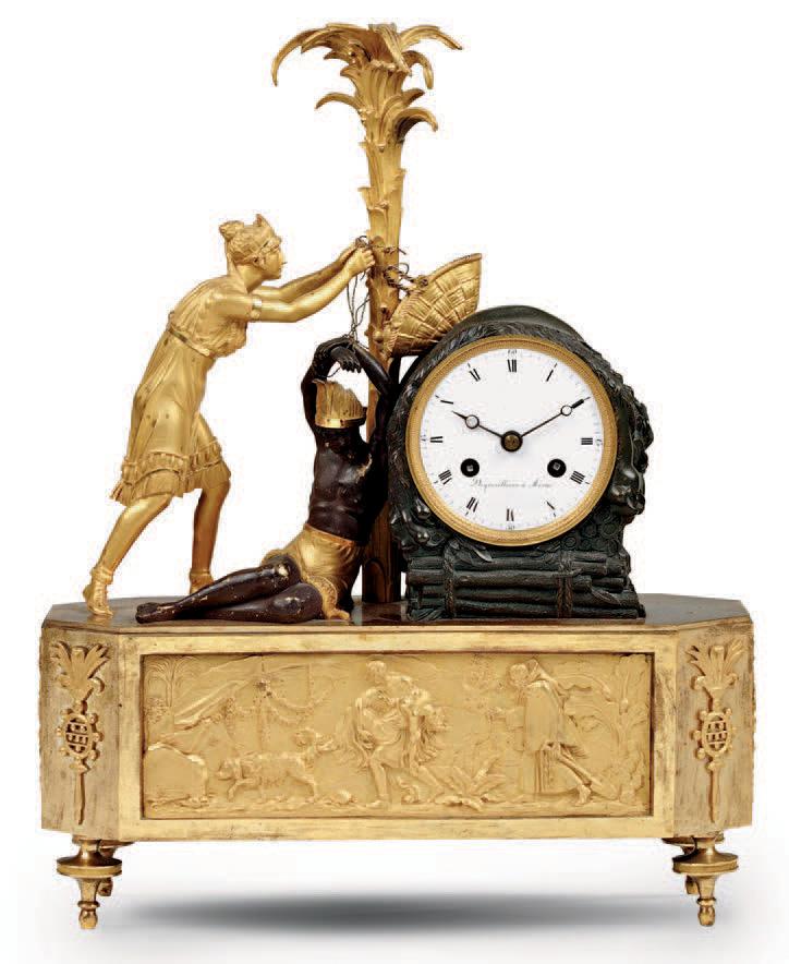 27 676 € frais compris. Pendule représentant la Délivrance de Chactas par Atala, bronze ciselé, patiné et doré, cadran signé Degresilliers à Arras, ép