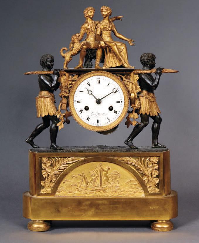 28 800 € frais compris. Pendule au nègre, bronze ciselé doré et patiné représentant Paul et Virginie portés par deux noirs, premier quart du XIXe sièc
