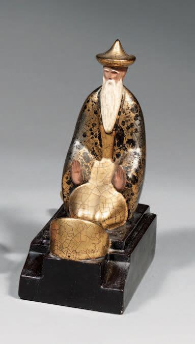 1 920 € frais compris. Robj France Boulogne, «Mandarin », brûle-parfum en céramique polychrome à rehauts d'or, signé, h. 24,5 cm. Drouot-Richelieu, 15
