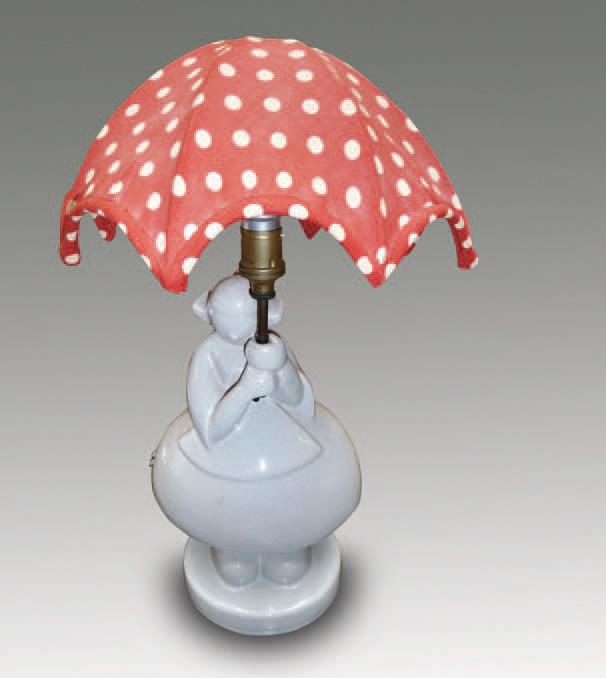Estimation : 1 500/2 000 €.Robj, « Bécassine », lampe de chevet en céramique émaillée gris, signée, numérotée 451, h. 36 cm. Drouot-Richelieu, 26 juin