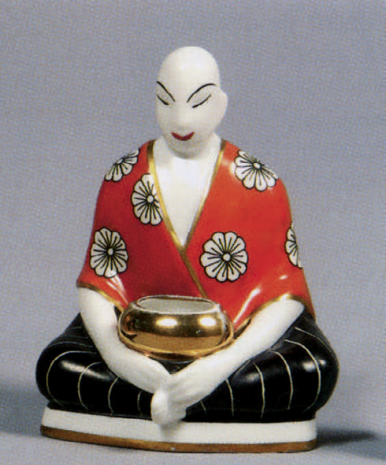 470 € frais compris. Robj, veilleuse en porcelaine corail, noire et or au « Japonais », signée, h. 15,5 cm. Drouot-Richelieu, 16 juin 2008. Massol SVV
