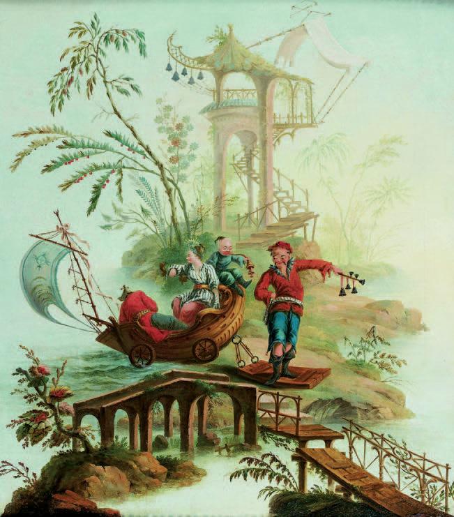 8 427 € frais compris. Chinoiserie à la pagode attribuée à Pillement, fin XVIIIe siècle, huile sur toile, 83 x 74,5 cm. Paris, Drouot, 19 octobre 2007
