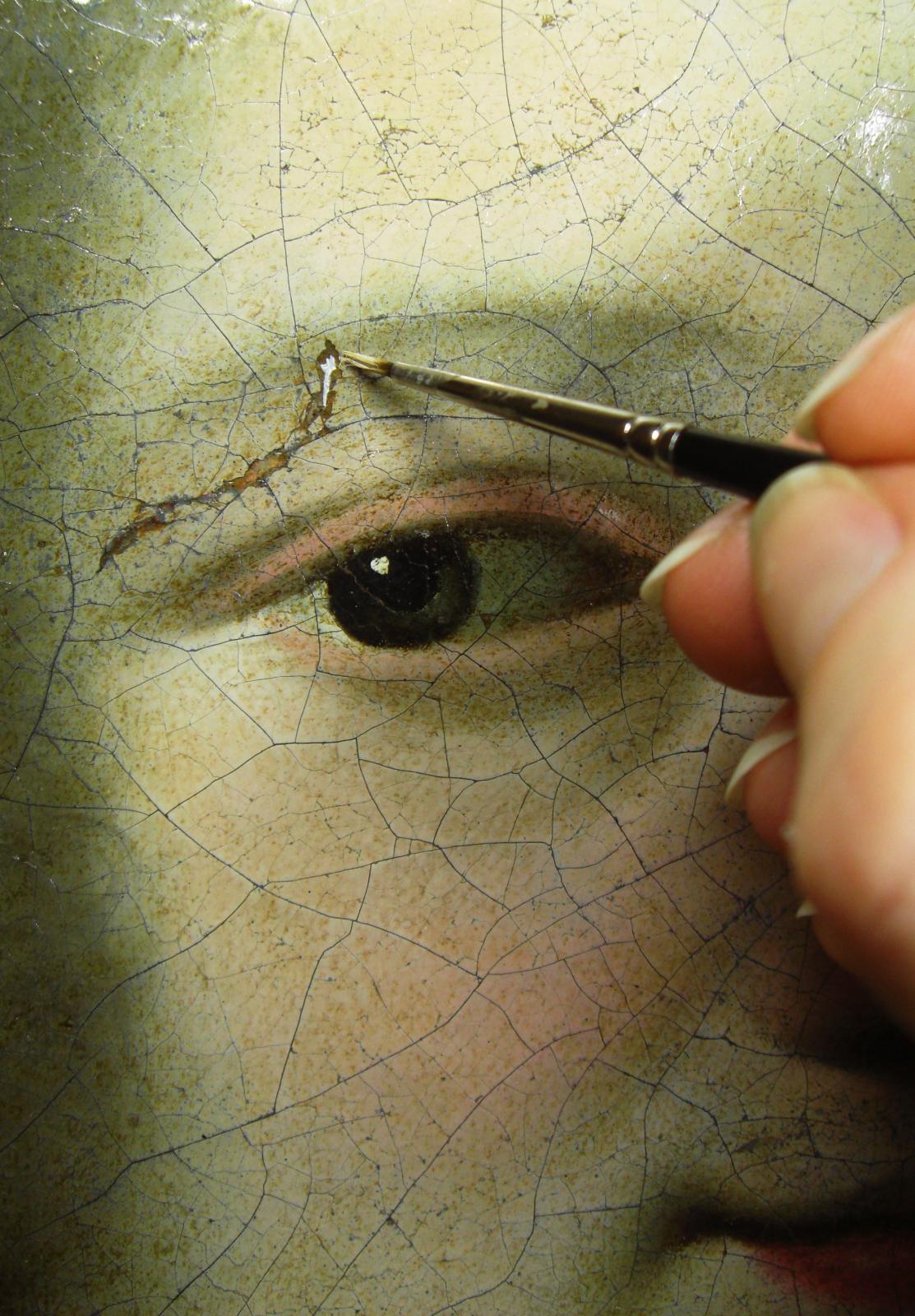 Atelier de Sonia, conservation et restauration de tableaux, huile sur toile, école espagnole du XVIIIesiècle en cours de réintégration chromatique, 6
