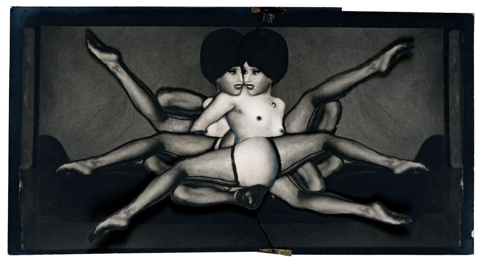 Les Jeux - Collage original finalisé, 1965, collage du photomontage de la planche28 du Chaman et ses créatures, composé de deux tirages sur Agfa doux