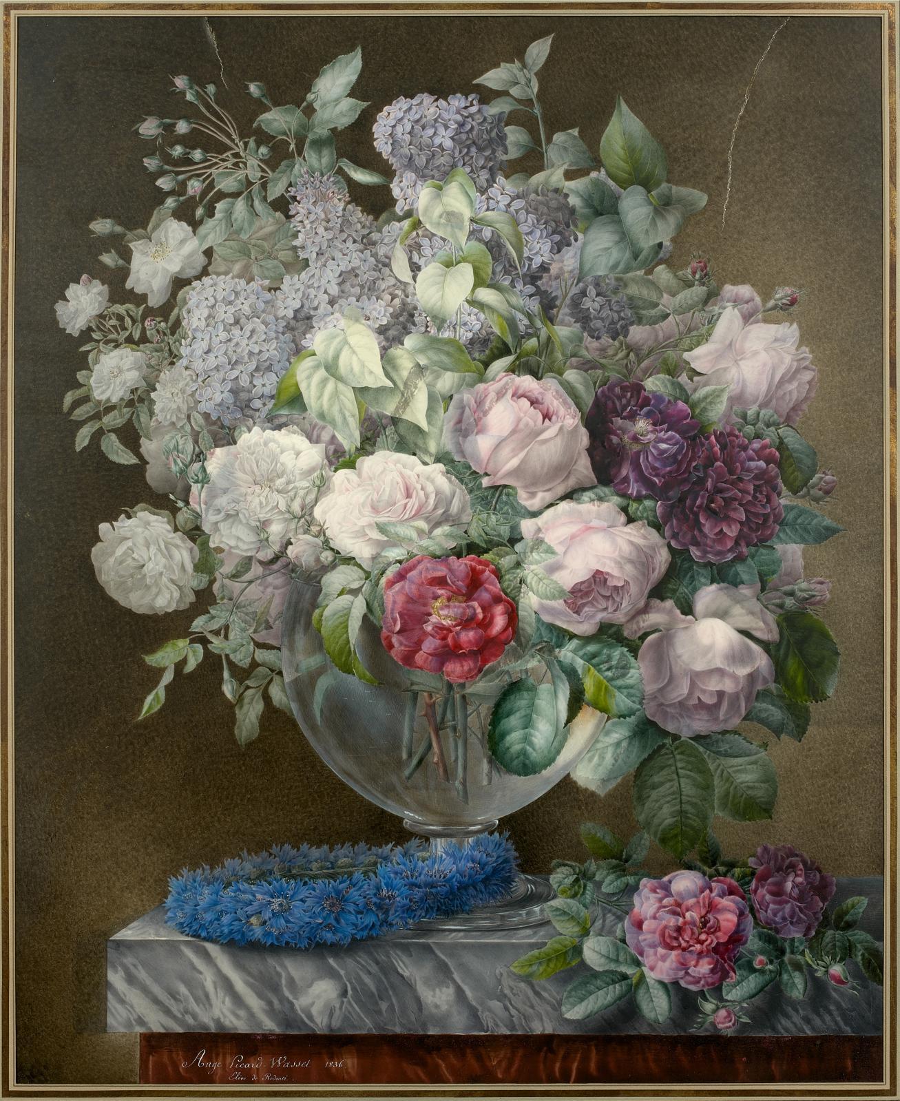 Julie-Ange Wasset (1802-1842), Vase de roses, lilas et couronne de bleuets sur un entablement, 1836, aquarelle, 75x61cm. Paris, Drouot, 14 octobre