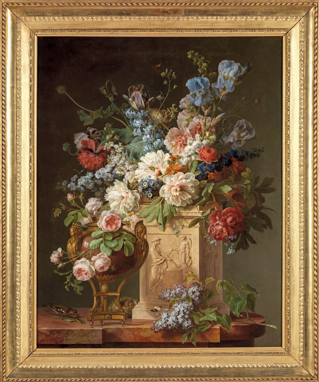 Gérard VanSpaendonck (1746-1822), Corbeille et vase de fleurs, 1785, huile sur toile, Fontainebleau, musée national du château.