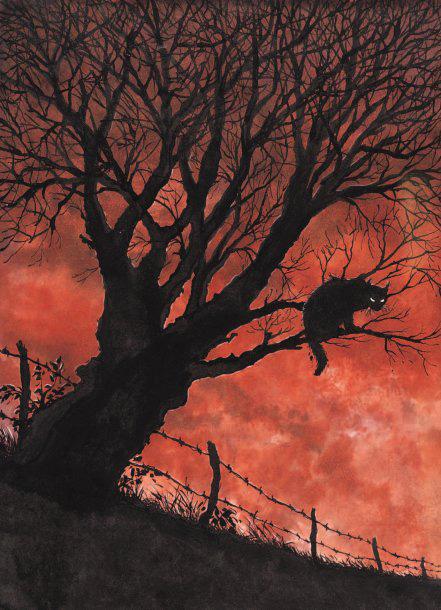 1625€Chabouté (né en 1967), Sorcières, encre de Chine et encres de couleur pour la couverture de l'album, éditions LeTéméraire 1998, 26x36cm. Dr