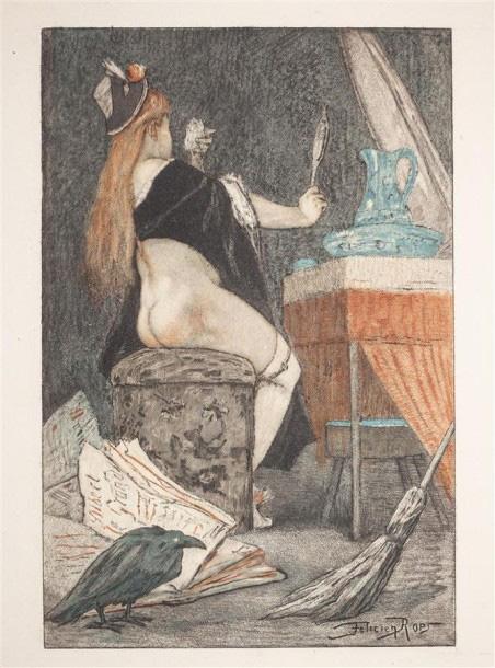 1510€D'après Félicien Rops (1833-1898), Petite sorcière gravée par Bertrand, impression couleur, épreuve sur vélin fort filigrané «G. Pellet», Exste