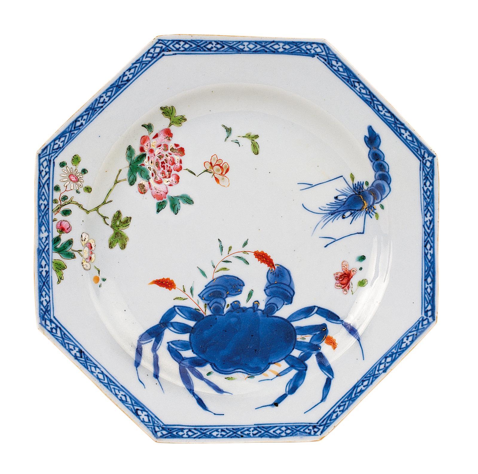Assiette «crabe et crevette», Chine, règne de Qianlong (1736-1795).