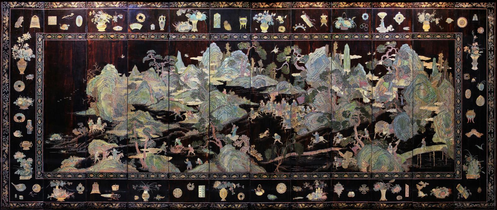 Paravent de la côte de Coromandel, La Chasse de l'empereur Kangxi dans la réserve de Mulan, Chine, période Kangxi (1662-1722).