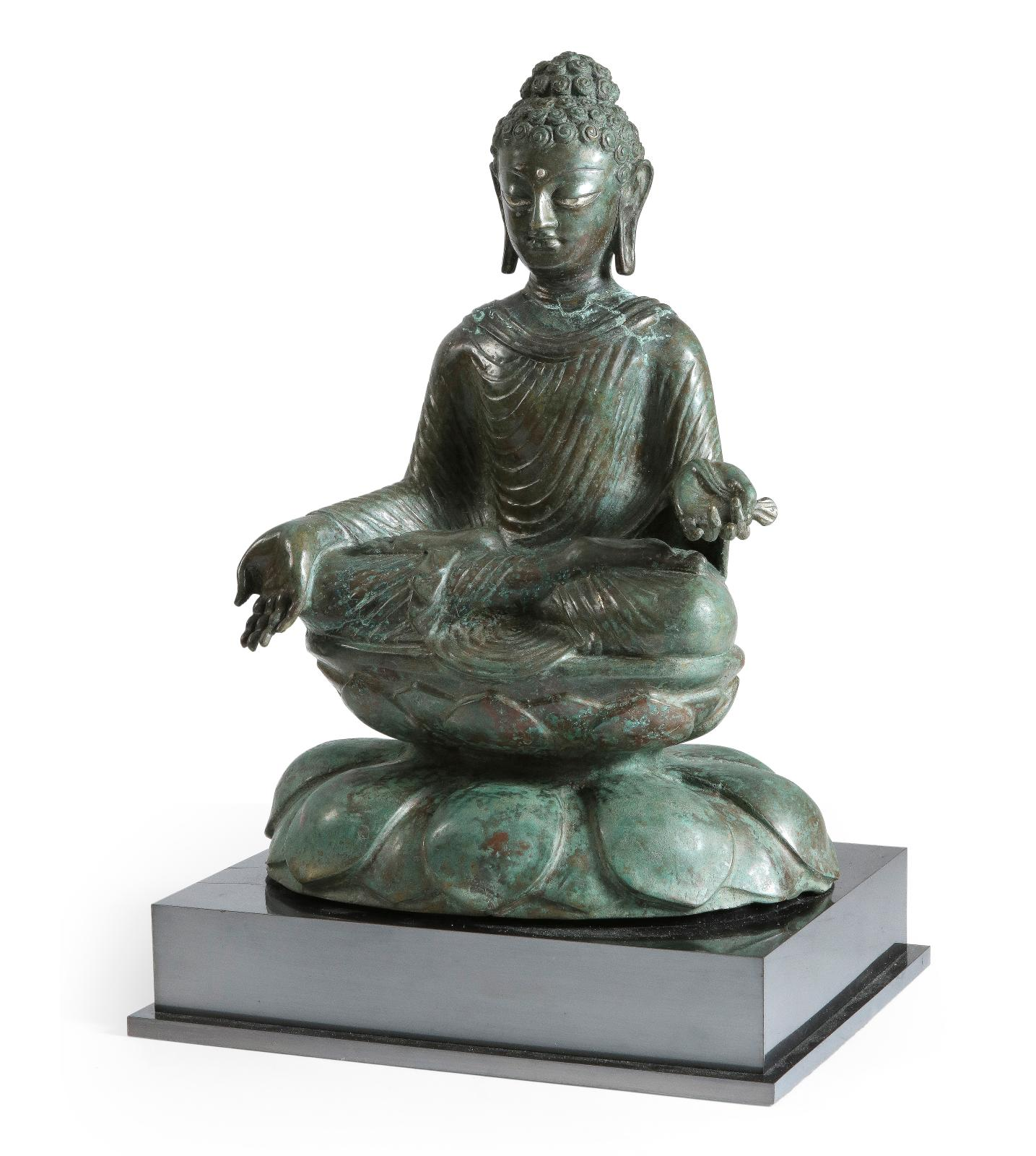 Buddha in bronze, Sino-Indian art, north-west India, 9th to 14th century, 47 x 31 cm (with base).Result: €158,760