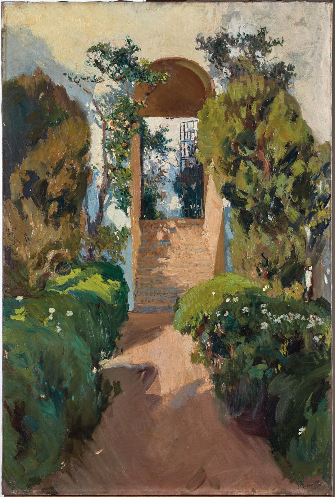Joaquín Sorolla y Bastida(1863-1923), Escalier vers le jardin supérieur, Alcazar de Séville, 1910, huile sur toile, 94,5x63cm (en paire avec Cour
