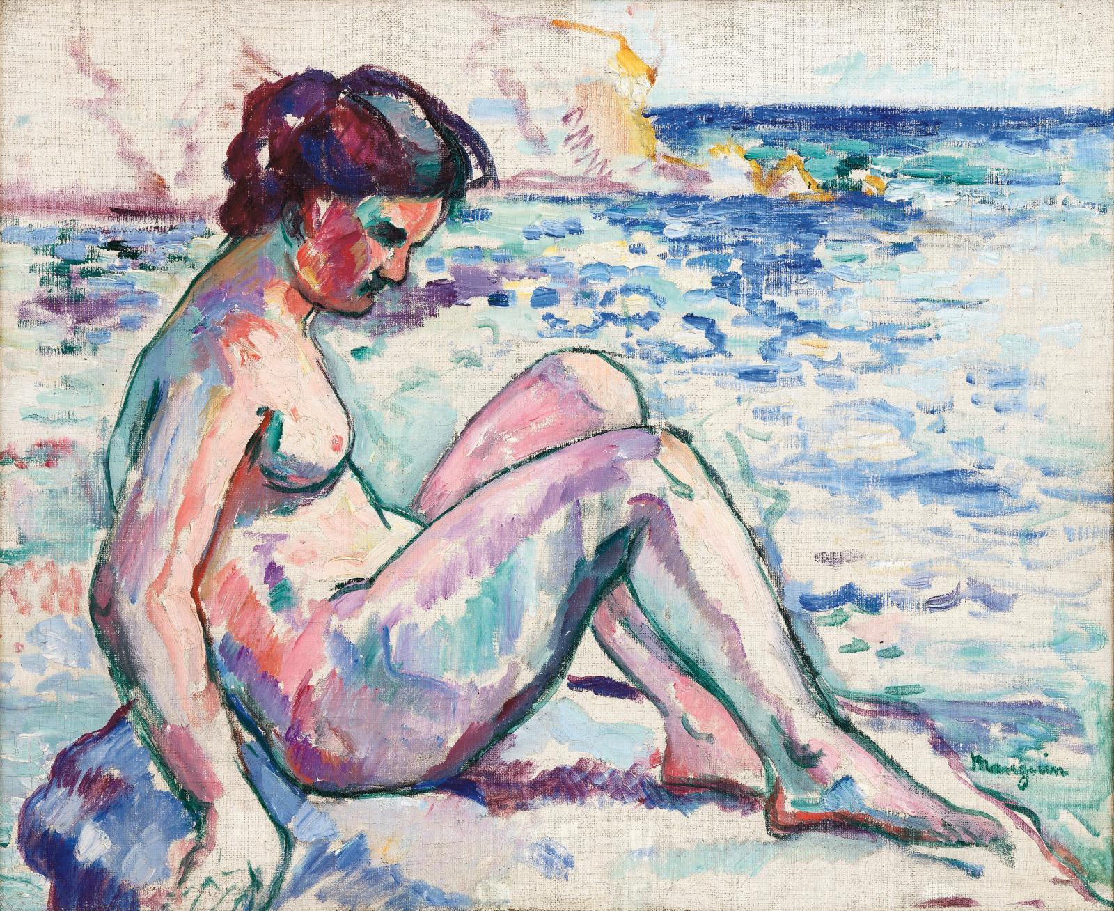 Charles Manguin (1874-1949), Jeanne au rocher, cavalière, huile sur toile. Galerie Alexis Pentcheff