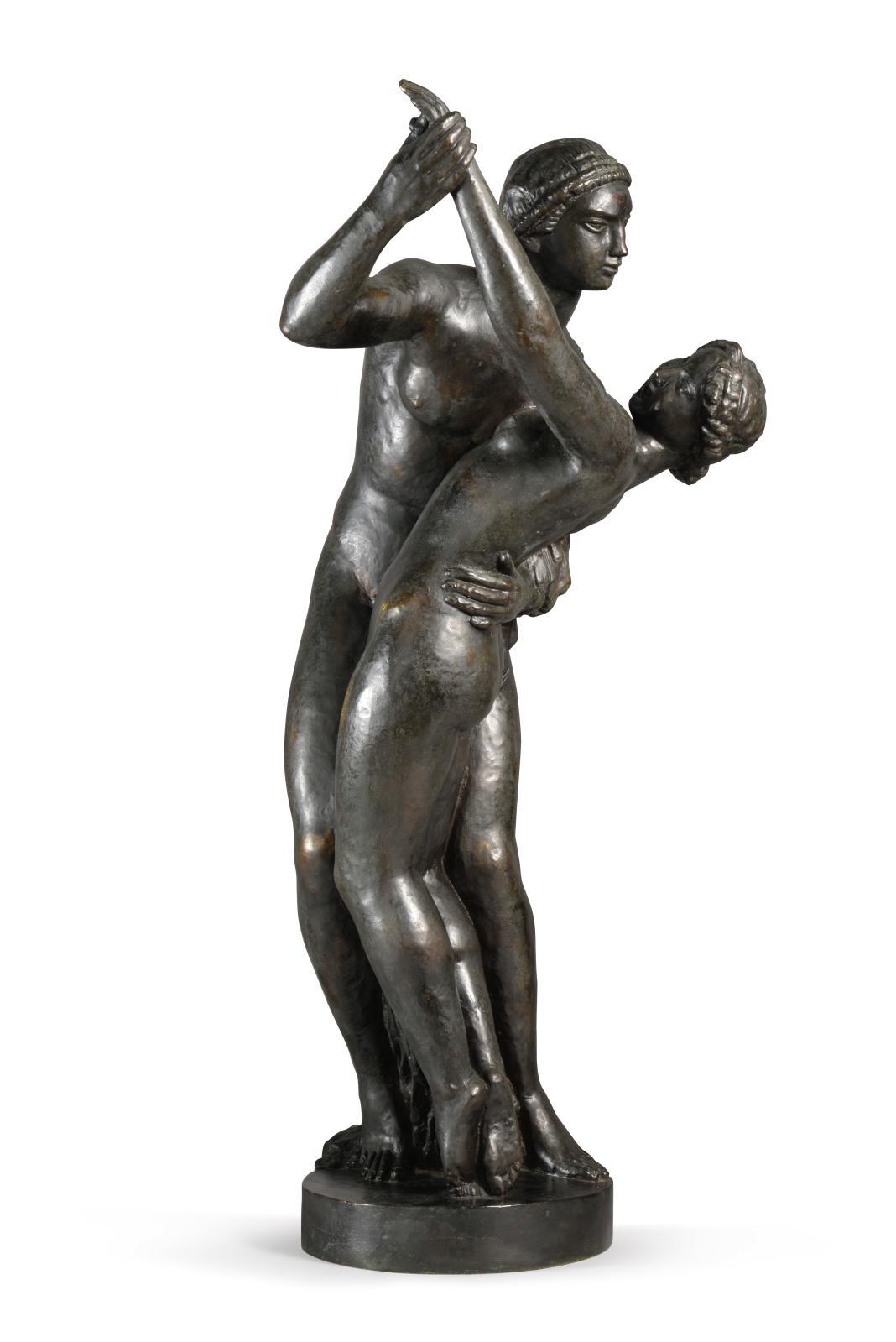 Joseph Bernard (1866-1931), Danseurs, 1927 (Couple dansant, second état), bronze à patine noire richement nuancée, tirage d'artiste signé «J. Bernard»