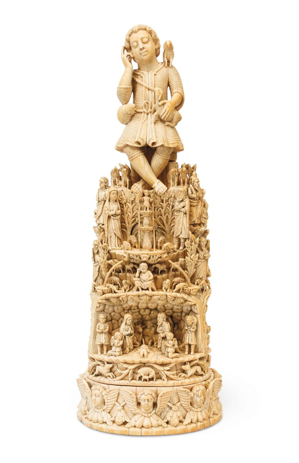 Travail indo-portugais, Enfant Jésus bon pasteur, ivoire, h.44,5cm. Galerie São Roque